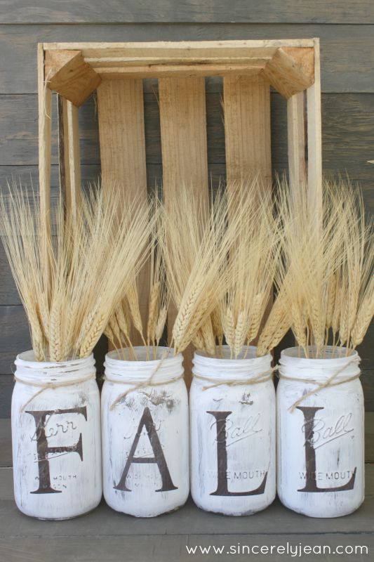 fall rustic mason jars - fun and easy DIY project! | www.sincerelyjean.com