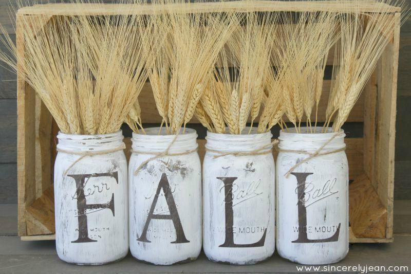 diy fall rustic mason jars
