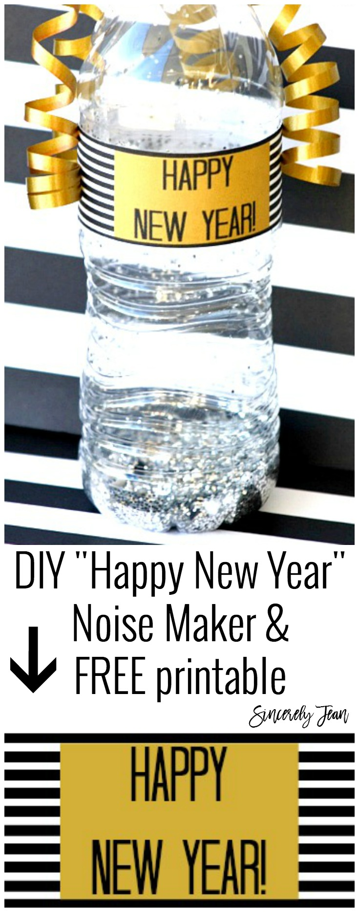 DIY Happy New Year noise maker and free printable - perfect New Years Eve craft for kids to make! | www.SincerelyJean.com