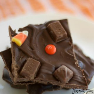 Chocolate bark with Halloween candy, a simple dessert by SincerelyJean.com