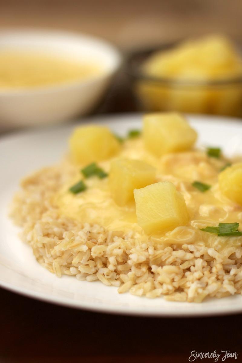 SincerelyJean.com brings you a warm dinner for cold days! Five Ingredient Hawaiian Haystacks