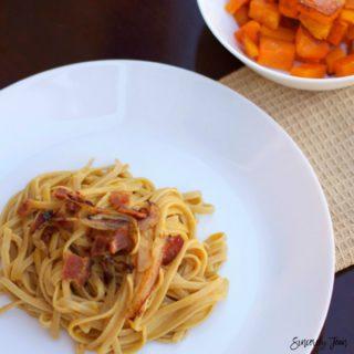 5 ingredient Butternut squash linguine pasta recipe, by SincerelyJean.com