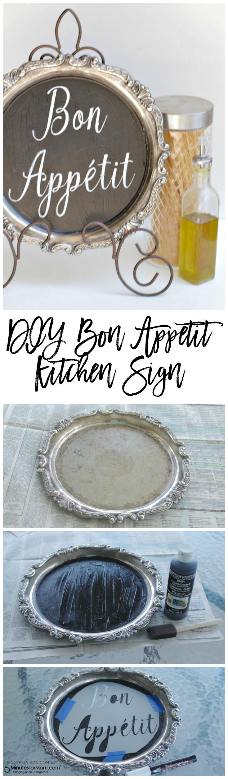 DIY Bon Appetit Kitchen Sign - simple home decor tutorial! | www.SincerelyJean.com