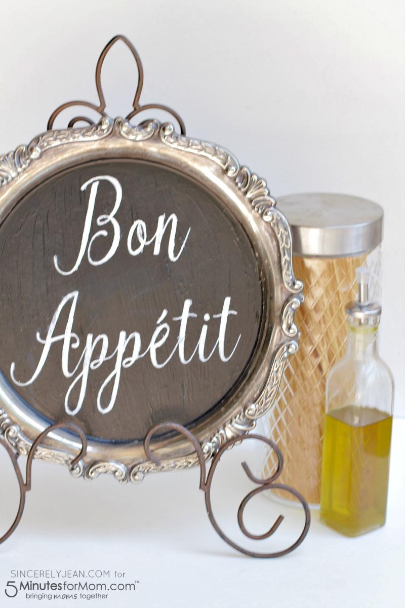 DIY Bon Appetit Kitchen Sign - simple home decor tutorial!   www.SincerelyJean.com