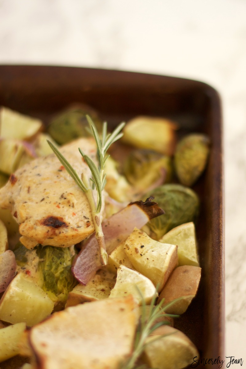 Autumn Chicken with Fall Vegetable - only 5 ingredients and 1 pan! By SincerelyJean.com