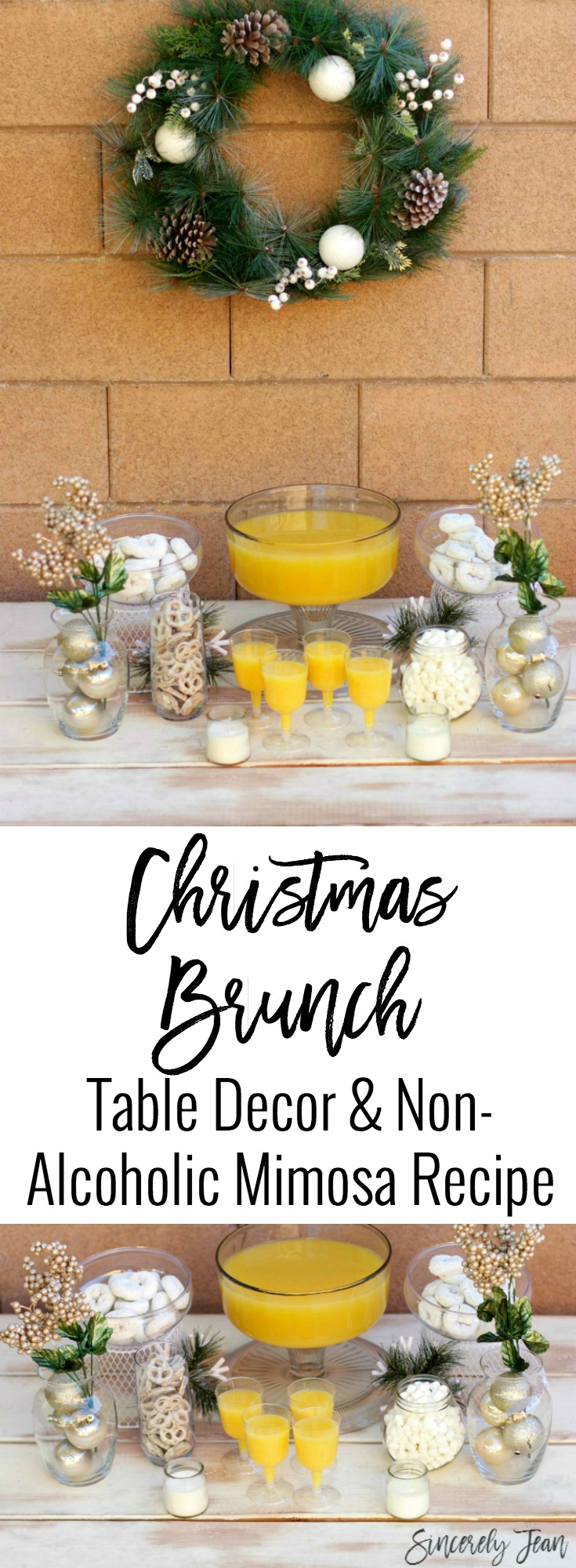 SincerelyJean.com - Check out our Christmas Brunch table decor and mimosa (virgin) recipe