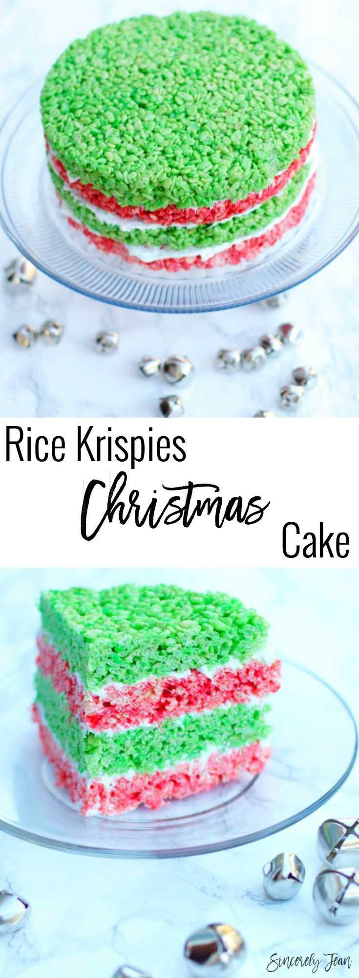 SincerelyJean.com brings you a delicious Dessert Cake with Rice Krispies Treats for Christmas