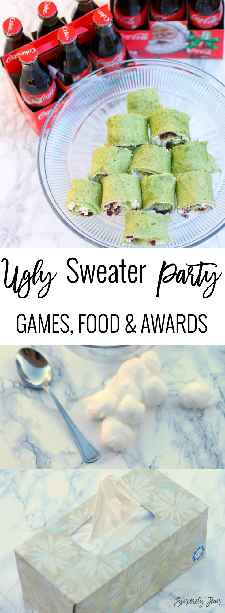 SincerelyJean.com Ugly Sweater Holiday Party How To! Appetizer Recipe, Food and Drink Ideas, Games and Awards. Try these Cream Cheese Cranberry Pinwheels