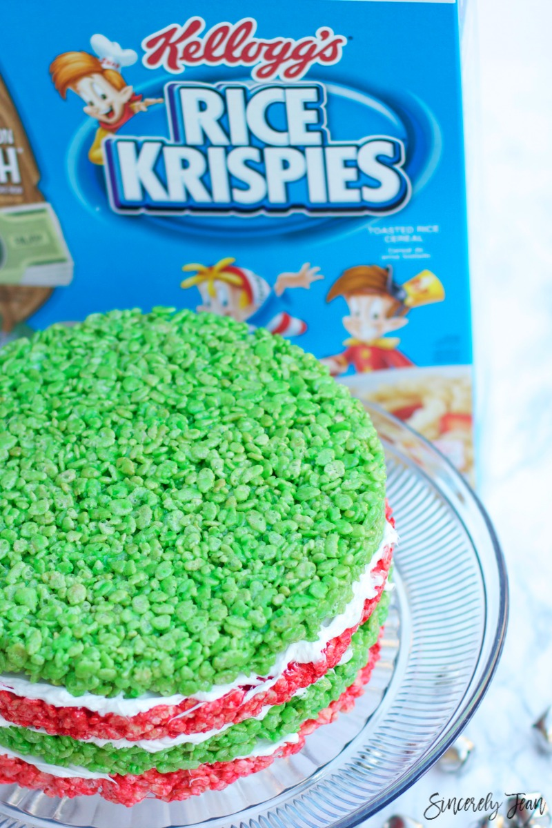 SincerelyJean.com is celebrating Christmas with this Rice Krispies Treats Cake